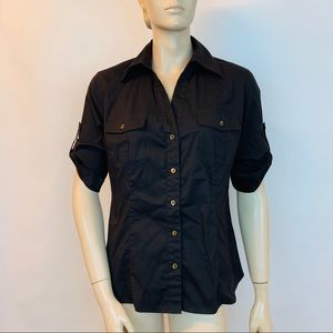 Lafayette 148 Button Shirt Black Roll UP Pockets 4